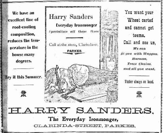 A sign of the times, this advertisement on the first page was for local ironmonger Harry Sanders. Source: The Western Champion Thursday March 20, 1913 page 1