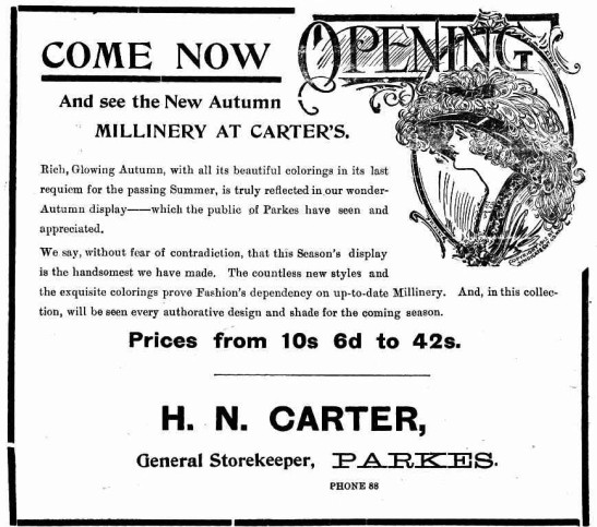 Another almost forgotten profession, a milliner not only sold hats but many made them in their store. This advertisement is for one of the general stores, Carter's, which was adding a millinery department. Source: The Western Champion 20 March, 1913 page 6