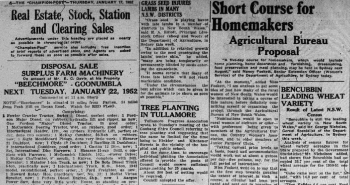 While Parkes still has close ties to agricultural industry, the reading in current newspapers is very different from 1952. Mentioned here are the leading wheat variety, information about the agricultural bureau, clearing sales and tree planting in Tullamore. Source: Parkes Champion Post January 17, 1952 page 4