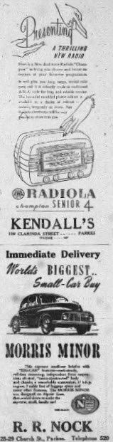 Two more advertisements to stir nostalgia lovers! Long before the internet and television, the radio was the family's source of entertainment.  Parkes Shire residents would purchase them from Kendall's store. While small cars are still popular today, the Morris Minor is now a vintage car. Source: Parkes Champion Post January 21, 1952 page 2