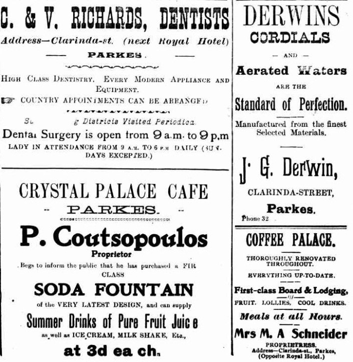 A selection of advertisements including for a local dentist, Crystal Palace Cafe, Coffee Palace and local cordial manufacturers of the time, Derwins. Source: The Western Champion March 20, 1943 page 34