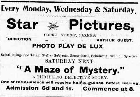 "Entertainment in 1913 would almost certainly mean a trip to ""the flicks"". Source: The Western Champion March 20, 1913 page 17"