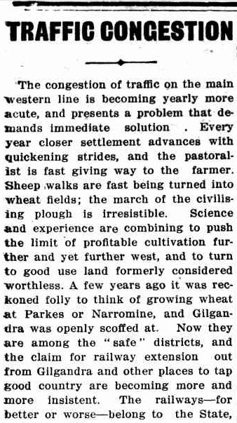 Modern readers might scoff at this headline from 1913, but traffic is a subjective matter. The improvements in science and agriculture meant formerly useless land was now being used to farm crops. Source: The Western Champion March 20, 1913 page 31