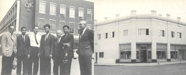 """Two photographs from the """"blue book"""". On the left, Central West County Council departmental heads Fred Morris, Bill Pavey, Norm McDonald and Frank Armstrong (chairman) with a group of touring Japanese students outside the CWCC headquarters in Clarinda Street in the mid 1960s. On the right, CWCC headquarters in the original Mazoudier Building on the corner of Clarinda and Church Streets in the early 1950s. Source: Tindall, R. (1983) page 82"""