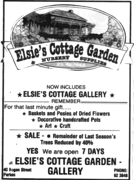 Another locally owned business was Elsie's Cottage Garden & Nursery Supplies. Located at 40 Bogan Street which now houses Parkes Auto Glass. Source: Parkes Champion Post Monday, May 14, 1990 page 5