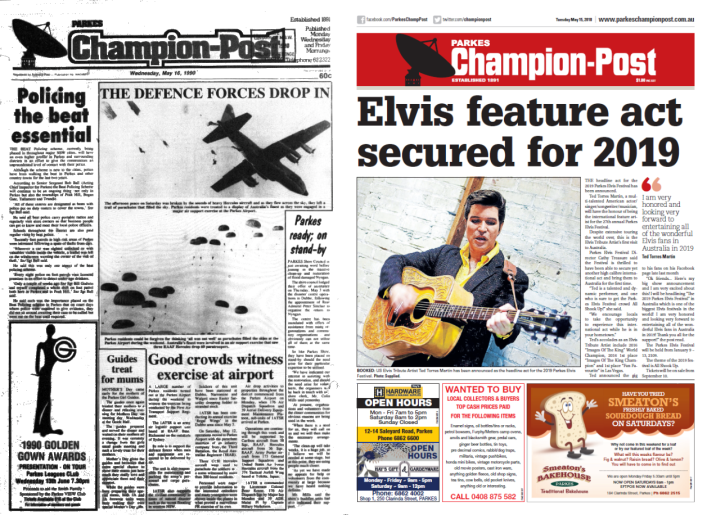 Front page comparison of Parkes Champion Post then and now. 1990 contained a few main stories - including one where three RAAF Hercules dropped 60 paratroopers into Parkes. The contemporary newspaper shows that plans for the annual Elvis Festival are well underway for 2019. Source: Parkes Champion Post Wednesday May 16, 1990 and Parkes Champion Post Tuesday May 15, 2018