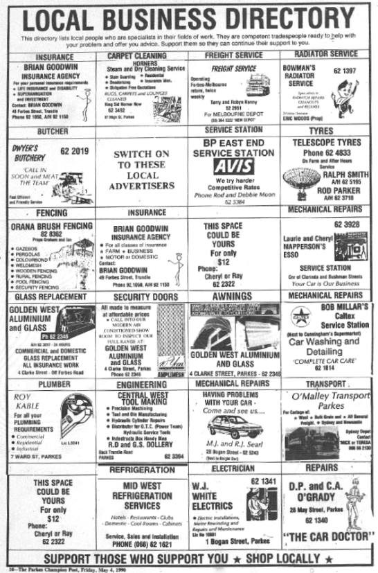 Full page advertisement in local newspaper highlighting some of the many local businesses of the day. Source: Parkes Champion Post Friday, May 4, 1990 page 10