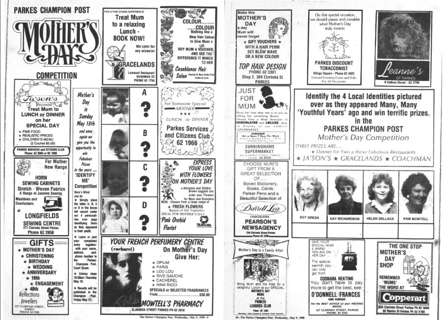 Mother's Day and a number of local businesses are advertising in this special feature in the local newspaper. Source: Parkes Champion Post Wednesday May 9, 1990 pages 9-10