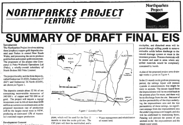 One of the main industries associated with Parkes, mining was still in proposal stage in May 1990. This is an excerpt from report on proposal for Northparkes Project. Source: Parkes Champion Post Wednesday, May 23, 1990 page 14 & 15