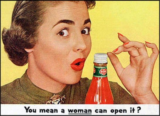 New aluminium bottle caps allowed for easier opening - which this ad portrays in what is a sexist and condescending way to modern readers. It is an example of how advertising standards change over time, while also highlighting that aluminium bottle caps and tops weren't always the norm. Source: Business Insider Australia website