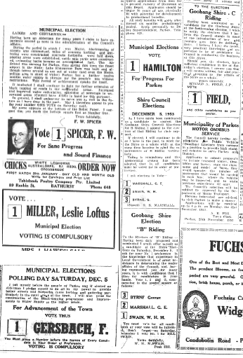Clippings from several council candidates. Some well known surnames here - Spicer, Miller, Gersbach, Field, Swain among them. Source: Parkes Champion Post Monday November 30, 1953 page 4