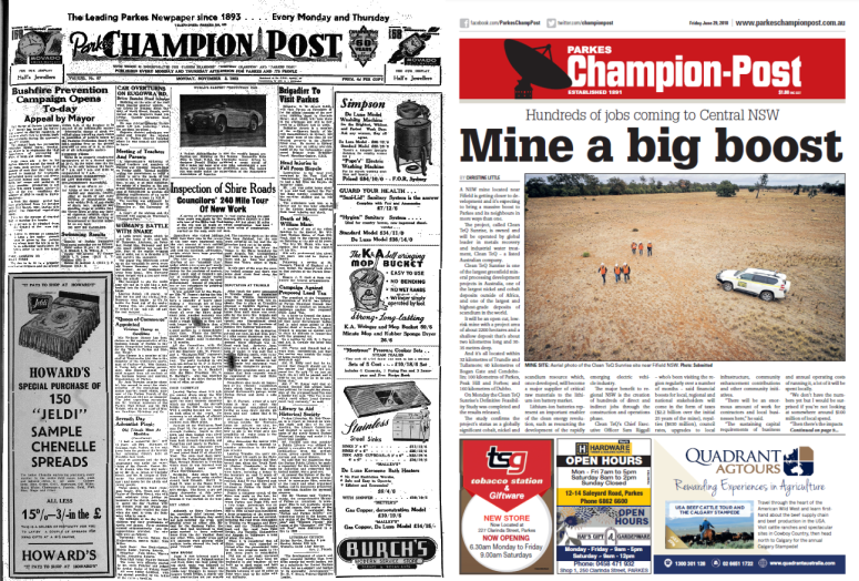 Front page comparison of Parkes Champion Post in 1953 and 2018. In 1953 the front page was very text heavy, with few pictures as well as in black and white. 2018 newspaper front page is in colour with a main picture from one story - Clean TeQ Sunrise mine project opening soon at Fifield. In 1953 the reports were on Mayor Bushfire Prevention Appeal; Brigadier Arnott's visit to Parkes; inspection of Shire Roads and an image of the then fastest production car, the British Austin-Healey. Source: Parkes Champion Post Monday, November 2, 1953 and Parkes Champion Post Friday June 29, 2018