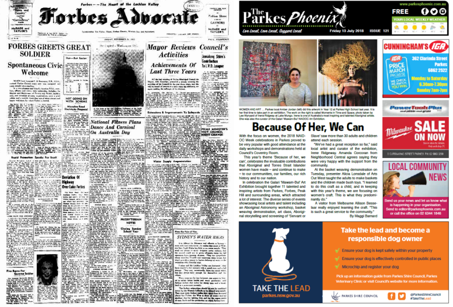 Another front page comparison. Forbes Advocate is again text-heavy with few pictures and in black and white. The stories include greeting a great soldier with a civic welcome, Forbes Mayor reviewing council's activities (the council being Forbes Municipal Council), plans for a dance and fitness carnival on Australia Day and anticipating Prime Minister Menzies' visit to Forbes. The Parkes Phoenix - in colour and more aesthetically appealing to modern readers focuses on one story. The main article highlights 2018 NAIDOC Week celebrations (not a fully realised concept in 1953) and showcasing local indigenous artists Amber Jordan and Irene Ridgway. Source: Forbes Advocate Friday, November 20, 1953 and The Parkes Phoenix Friday 13 July 2018