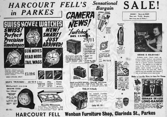Harcourt Fells quality timepieces were in stock at Wenban Furniture Shop. They included novel watches with amazing detail and moving parts, box cameras and storm-proof lighters amongst other items. Source: Parkes Champion Post Monday, November 2, 1953 page 3