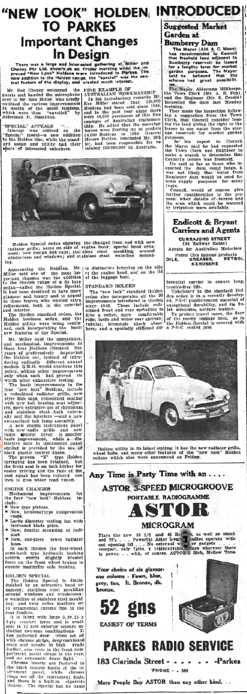 "A new look to Holden - the ""special"" was introduced to Parkes car enthusiasts at local showroom of Miller and Cheney Pty Ltd. It was hailed as a ""Fine Example of Australian Workmanship"". Source: Parkes Champion Post Thursday November 5, 1953 page 9"