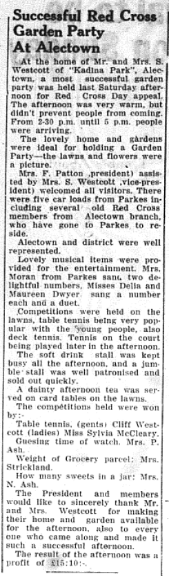 "The Parkes Shire has a long history of generosity and this article highlights this again. ""Kadina Park"", Alectown - home of Mr and Mrs S. Westcott - hosted a garden party to raise funds for the Red Cross appeal. Source: Parkes Champion Post Thursday, November 19, 1953 page 6"