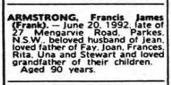 Obituary of Francis James Armstrong listed in the Death Notices of Sydney Morning Herald, Monday, June 22 1992 page 29. Source: Ancestry website
