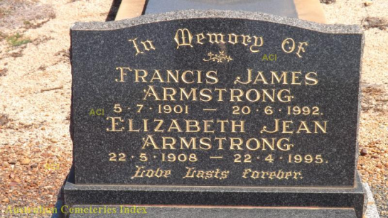 Both Frank and Jean are interred at Parkes Cemetery and this photograph of their headstone can be found on Australian Cemeteries Index website. Source: Photographed by Peter & Karen Patterson-Kane and uploaded to http://www.austcemindex.com/inscription?id=15524495