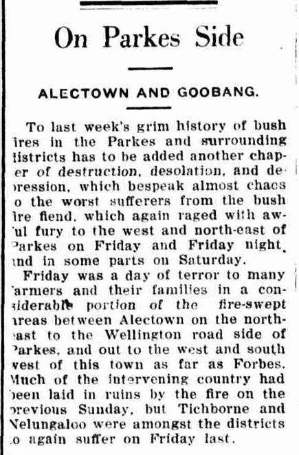 """A day of terror to many farmers..."" reports one newspaper of the Alectown bushfire that Len recounts. This excerpt of a report details how wind and dry conditions can add to ""...another chapter of destruction, desolation and depression..."". Source: Forbes Advocate Tuesday 14 December, 1926 page 2 To read the full article go to http://nla.gov.au/nla.news-article218651828"