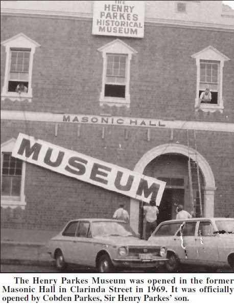 Len Unger's involvement with Parkes Historical Society was influential and he was part of the Henry Parkes Museum opening in 1969. The museum was officially opened by Cobden Parkes, Sir Henry Parkes' son. Source: Parkes Champion Post Friday, June 1, 2007 page 10