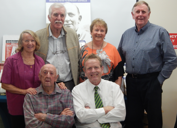 At the Pep book launch held in Parkes Shire Library are (left to right): Jeanette Bond (nèe Pepper), Lawrence Bond, Helen Whiter, John Whiter all standing; Keith Pepper, Cec's brother and author Ken Piesse, seated. Photograph by Dan Fredericks (Parkes Shire Library) taken on November 16th, 2018