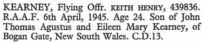Extract from the Commonwealth War Graves Commission Listing. Retrieved from www.ancestrylibrary.com via Parkes Library's subscription. Original Source: Peter Singlehurst; War Dead of the Commonwealth Cemeteries in the State of Queensland - 2