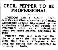 In the days before email and mobile phones, Pepper's wife relied on cablegrams from overseas about her husband's whereabouts. Source: Sydney Morning Herald Thursday 4 October, 1945 page 7