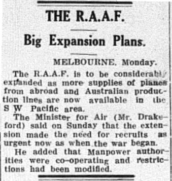 It cannot be confirmed that this newspaper report swayed Keith's mind. However this newspaper ad pleading for more pilots appeared in the local newspaper on the the same day that Kearney enlisted. Source: The Champion Post Monday, August 9, 1945 p. 1