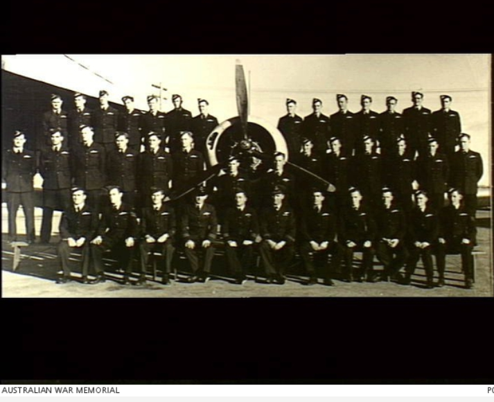 This photograph is a group portrait of graduates of No 44 Course at No 5 Service Flying Training School from RAAF Uraquinty. The photograph was taken on July 1st, 1944. Kearney is in the back row second from right. Source: Australian War Memorial website