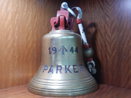 The bell of HMAS Parkes, given to the people of Parkes and now in its home at Parkes Shire Library. Photograph by Dan Fredericks (Parkes Shire Library) taken on February 14, 2019