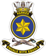 The motto and logo of HMAS Parkes. Source: D. Stevens (2010) The Australian Corvettes PDF