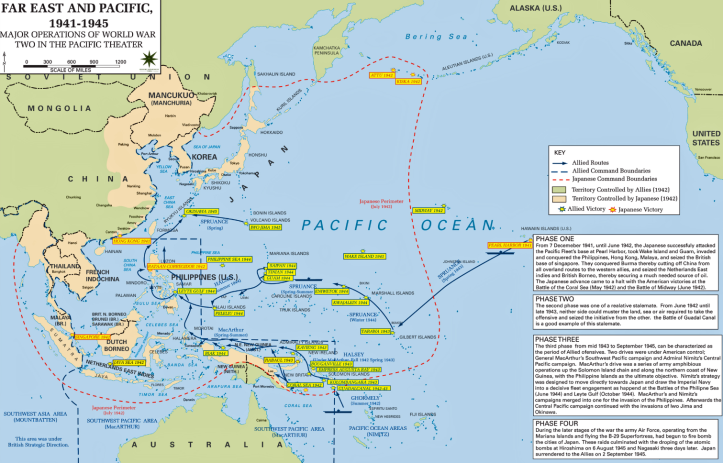Map of major operations of World War 2. With Netherlands East Indies (now Indonesia) so close to Australia, Japanese control of this region threatened Australians particularly in the north. Source: History of Stuff website