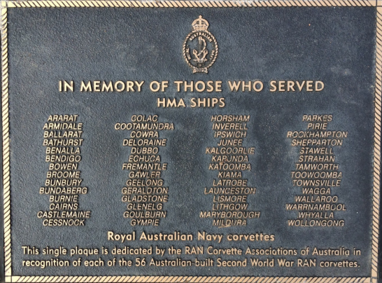 A commemorative plaque for all 56 Australian-built Second World War RAN corvettes. Source: Royal Australian Navy website