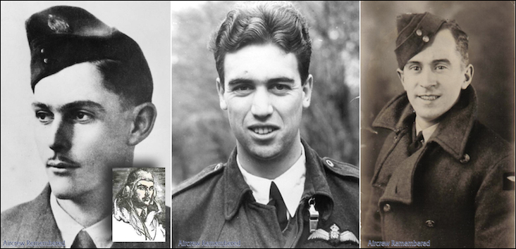 Three of the crew from Stirling BF372 OJ-H (left to right): Pilot, Flight Sergeant Middleton; Pilot 2, Flight Sergeant Hyder; and Wireless Operator Sergeant Mackie. Source: Aircrew Remembered website
