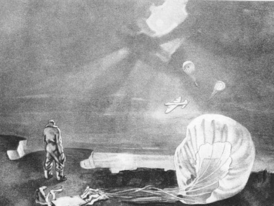 David Smith, formerly of No.149 Squadron RAF, painted this scene depicting one of Middleton's crew members watching the last moments of  the Stirling bomber and its pilot. The two parachutes were of Mackie and Jeffery whose bodies floated ashore after they had drowned. An image of this painting can be found in Stuart Bill's book on page 138. Source: News.com.au website
