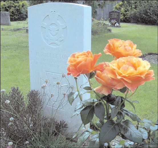 Photograph of Rawdon Middleton's grave in Beck Row, Suffolk, England. Then principal of Middleton Public School, Sherree Rosser, visited Middleton's grave in the same year as Middleton Public School's 50th anniversary. Source: Parkes Champion Post Wednesday, October 17, 2007 page 1