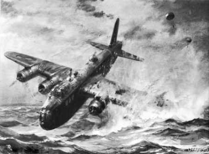 A replication of Charles R. Turner's water colour of Middleton's Stirling crashing into the sea with two parachutes in the background. A photograph of this painting can be found in Stuart Bill's book on page 138. The original is part of the Australian War Memorial's collection. Source: themdays website