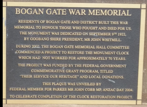 Close up photograph of one of the plaques on the Bogan Gate cenotaph. Source: War Memorial Register website