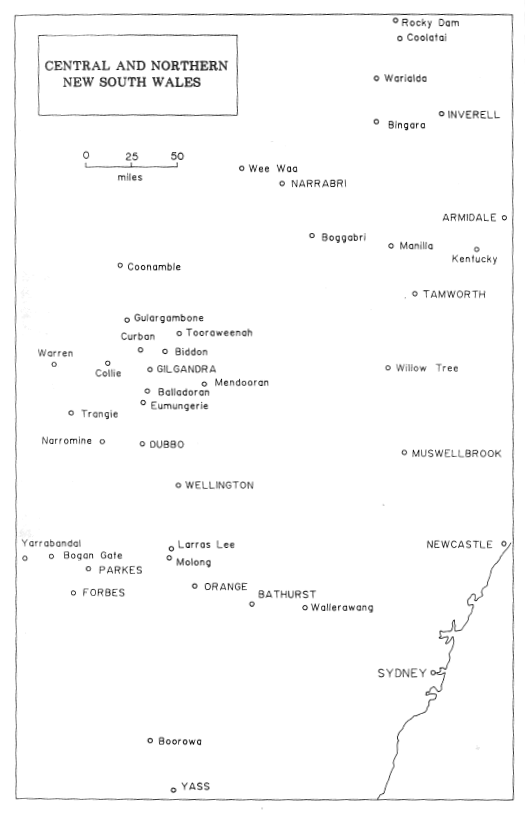 Mapping out Rawdon Middleton's life - a map of central and northern New South Wales where Middleton's family resided. Source: Middleton, VC by S. Bill (1991) East Bentleigh: Stuart & Lucile Bill page 12