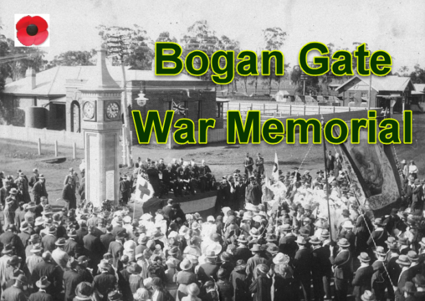 Photograph of an ANZAC Day service at Bogan Gate with a poppy - the symbol synonymous with Remembrance Day worldwide. Source: State Library Archives and Australian War Memorial website