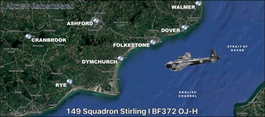 This map shows an approximation of Middleton's crash landing, as he was just off the coast from Dymchurch when his Stirland crashed into the sea. Source: Aircrew Remembered website