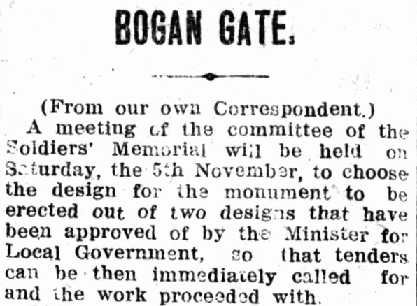 Newspaper reporting the latest updates on the soldiers' memorial for Bogan Gate. Source: Western Champion Thursday October 27, 1921, page 18