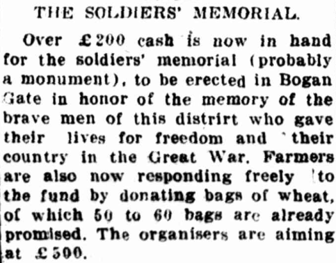 Newspaper reporting on the progress of the soldiers' memorial. Source: The Forbes Advocate Friday 11 February 1921, page 6