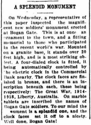 A splendid monument - a Forbes journalist is full of praise for the residents of Bogan Gate. Source: The Forbes Advocate Friday 1st September 1922, page 4