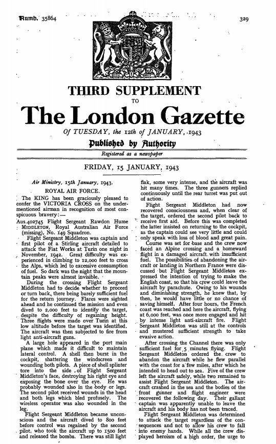 Announcing Middleonton's posthumous awarding of the Victoria Cross. Source: The London Gazette for January 12, 1943 page 329