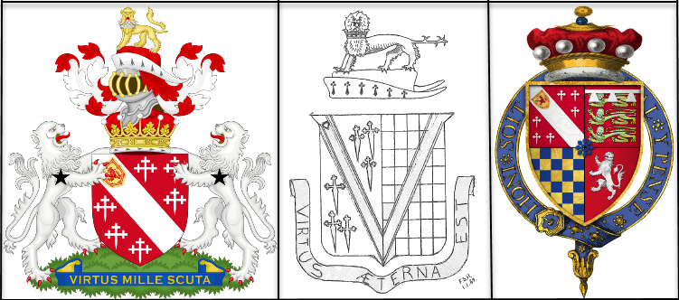 Family crests of the Howard Family through the years. (Left) Coat of arms of the Earl of Effingham, which was created in 1837 for Kenneth Howard, 11th Baron Howard of Effingham, named after the village of Effingham where the family manor was. Effingham is in the Borough of Guildford in county Surrey; (centre) The coat of arms for the modern Howard family drawn by Frank Stuart Howard in 1969 and featured on the order of service for the 150th Anniversary Service for the arrival of Robert Stephen and Maria Howard at Moreton Bay, Queensland 28 November 1862 (supplied by John Howard); and (right) the coat of arms of Sir William Howard, 1st Baron Howard of Effingham, KG. Sources: Wikipedia and John Howard's personal collection.