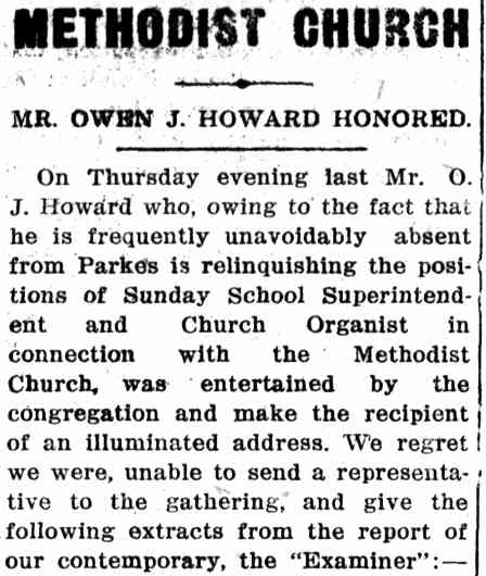 This excerpt from a whole page article details the high esteem that Parkes Methodist Church, and the community at large, held he and his wife in. Source: Western Champion Thursday April 5, 1917 p.13 To read the newspaper report in its entirety click here