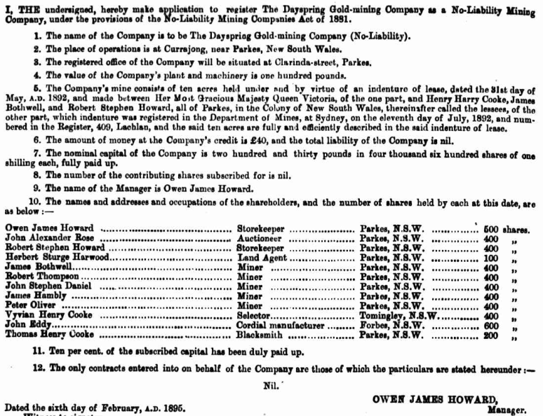 O.J. Howard's application to register The Dayspring Gold-mining Company, listing the shareholders of the company. Source: New South Wales Government Gazette Tuesday February 12, 1895 [Issue No.108] p.968