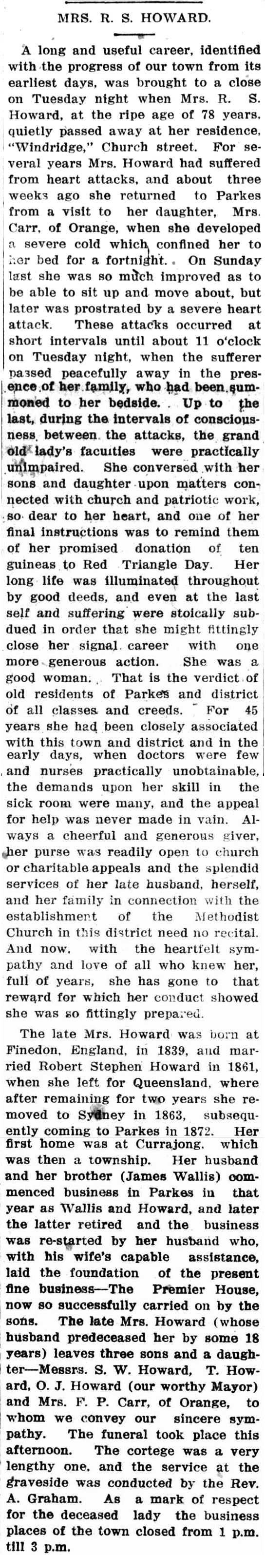 Obituary of Maria Howard, which offers up information and insight into her life and legacy. Source: Western Champion Thursday June 7, 1917 p.17