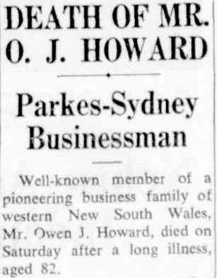 This excerpt from O.J. Howard's obituary highlights a life well-lived. Source: The Sydney Morning Herald Monday, June 12, 1950 p.4 To read the article in its entirety, click here